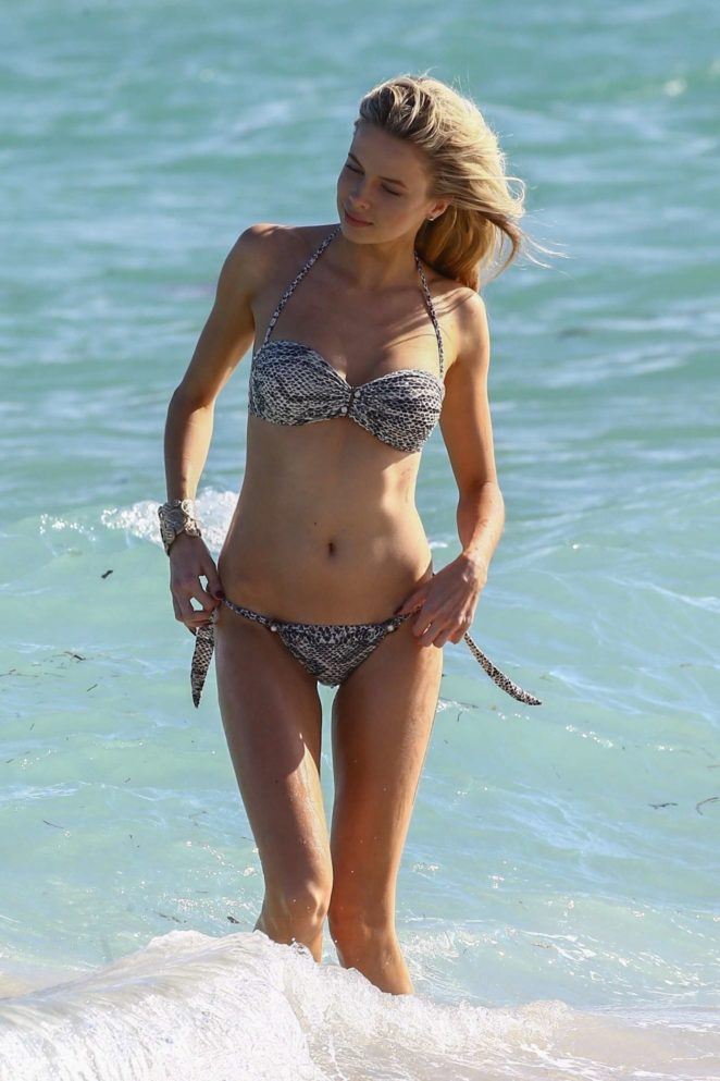 Louisa Warwick in Bikini at the beach in Miami