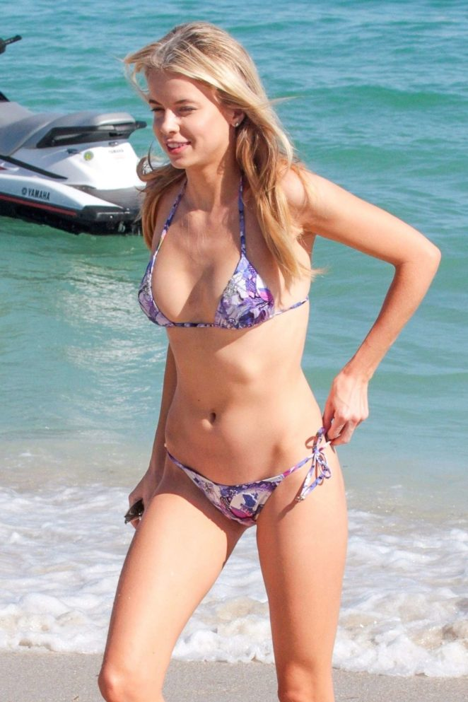 Louisa Warwick in Violet Bikini at the beach in Miami