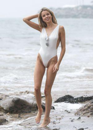 Louisa Warwick in White Swimsuit Photoshoot in Zuma Beach ...