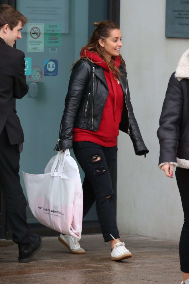 Louise Redknapp in Leather Jacket - Leaves Hilton Hotel in Liverpool