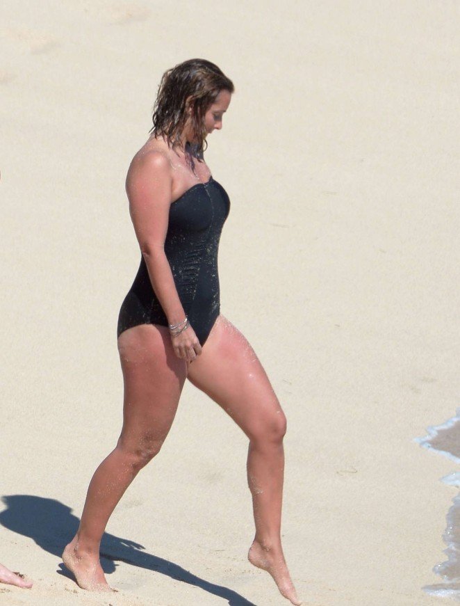 Louise Redknapp in Swimsuit on the beach in St. Barts