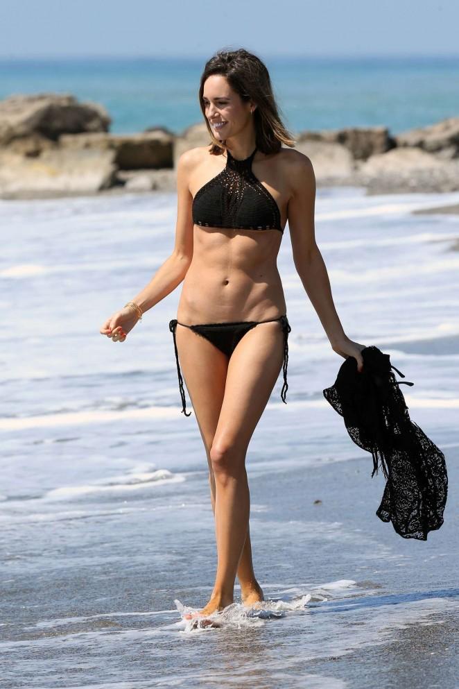 Louise Roe in Black Bikini -01
