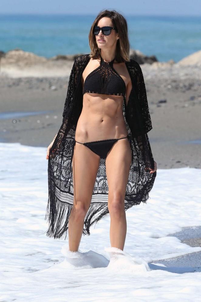 Louise Roe in Black Bikini -07