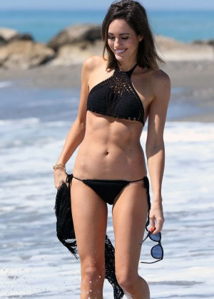 Louise Roe in Black Bikini in Spain