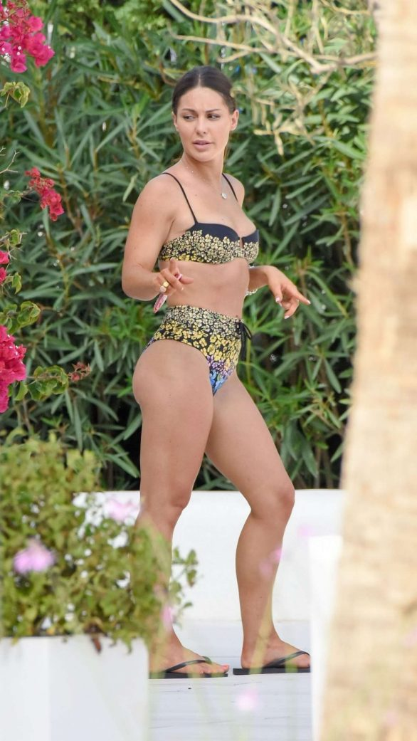 Louise Thompson in Flower Print Bikini on vacation in Ibiza
