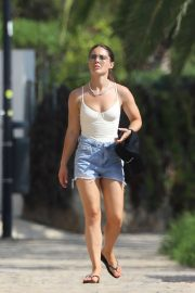 Louise Thompson in Jeans Shorts - On vacationing in Ibiza