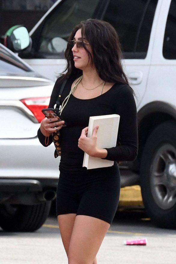 Lourdes Leon in Black Tight Shorts - Out in Miami