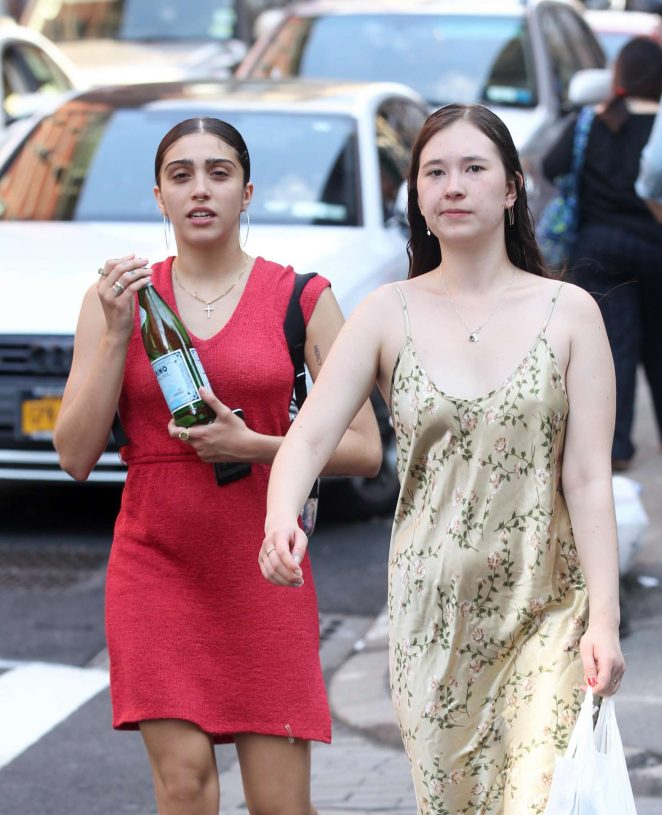 Lourdes Leon in Red Mini Dress out in New York