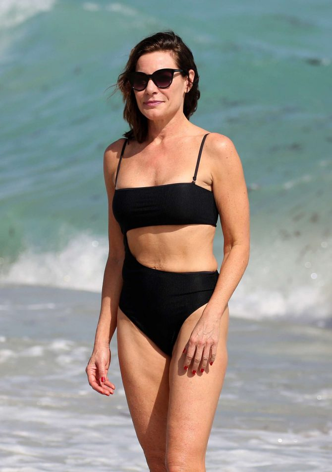 Luann de Lesseps in Black Bikini on Miami Beach