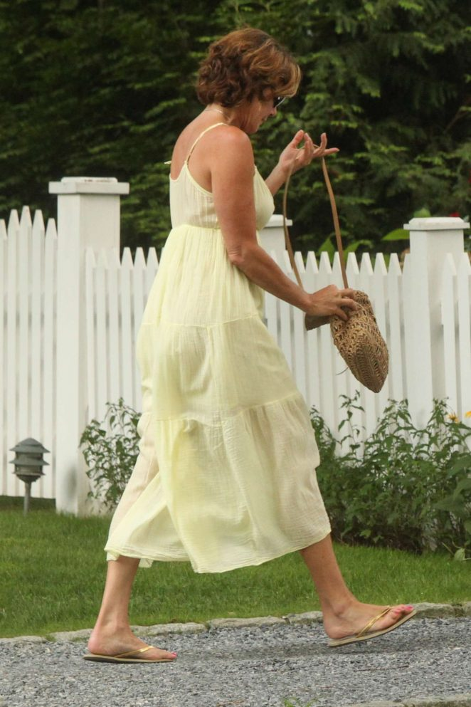 Luann de Lesseps in Long Dress out in the Hamptons