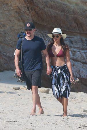 Luciana Barroso in a bikini with Matt Damon at the beach in Malibu
