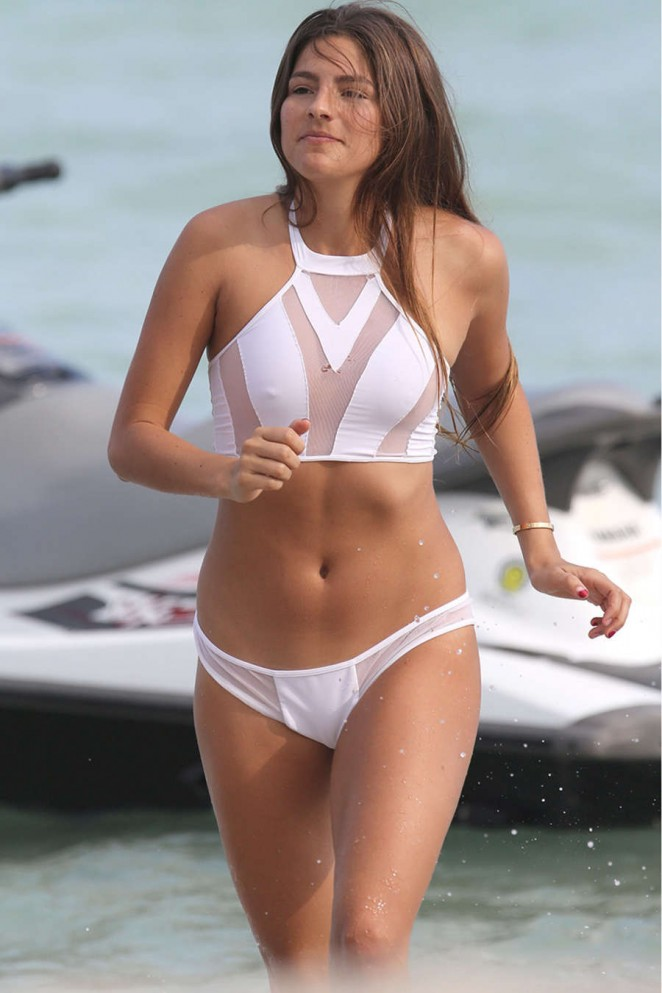 Lucy Aragon in White Bikini on Miami Beach