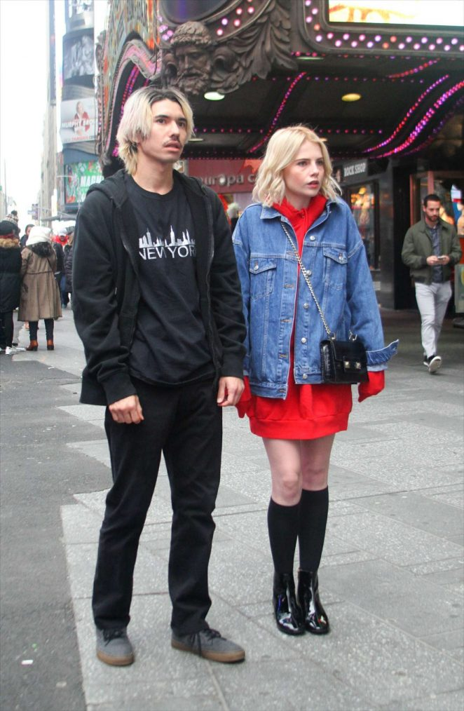 Lucy Boynton and Benjamin Barrett on set for 'The Politician' in New York