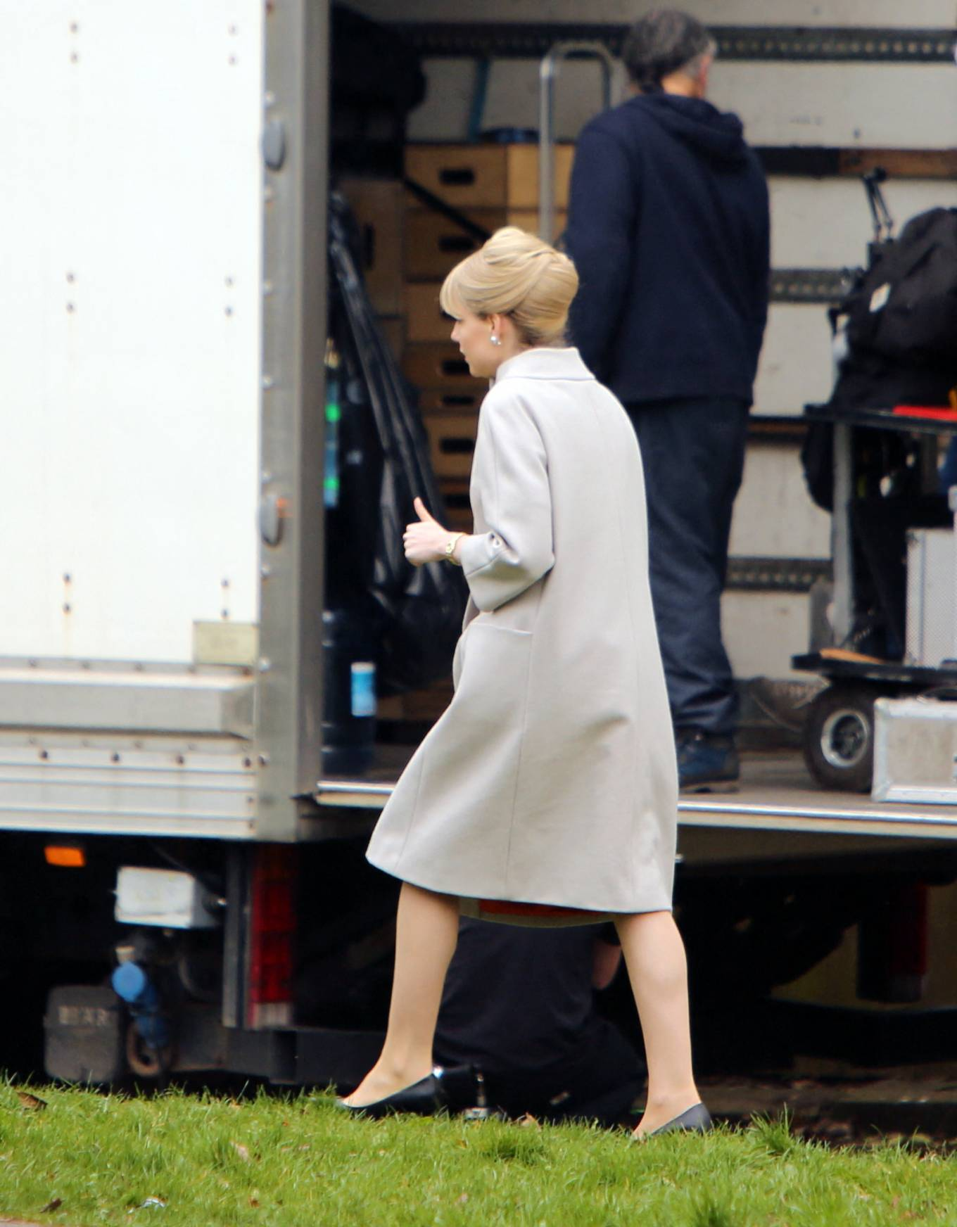 Lucy Boynton - filming of the ITV series The Ipcress File in Liverpool