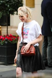 Lucy Boynton - Leaving a hotel in Paris