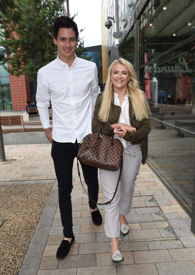 Lucy Fallon and boyfriend Tom Leech out in Manchester
