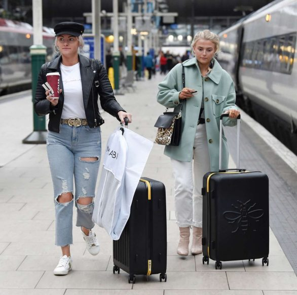 Lucy Fallon and Katie McGlynn - Arrives at Train Station in London