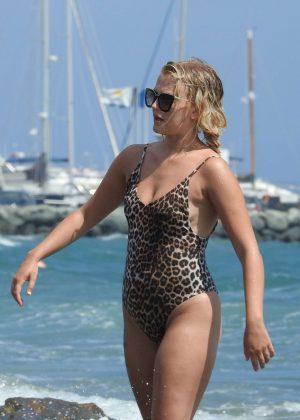 Lucy Fallon in Leopard Print Swimsuit in Nicosia