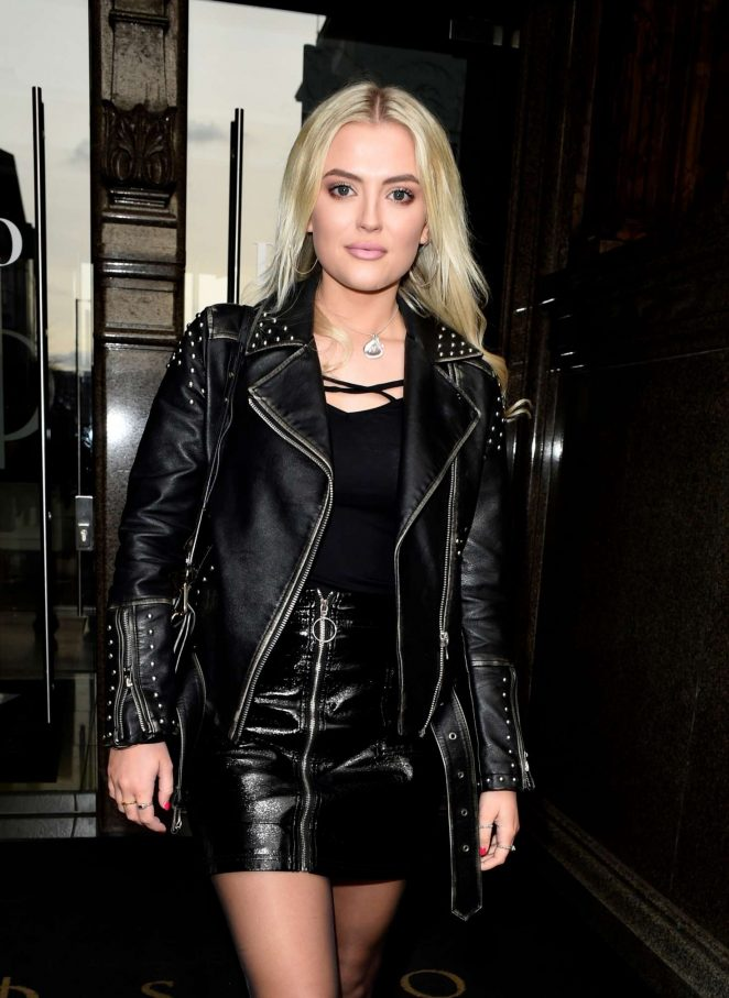 Lucy Fallon in Mini Skirt at Rosso Restaurant in Manchester