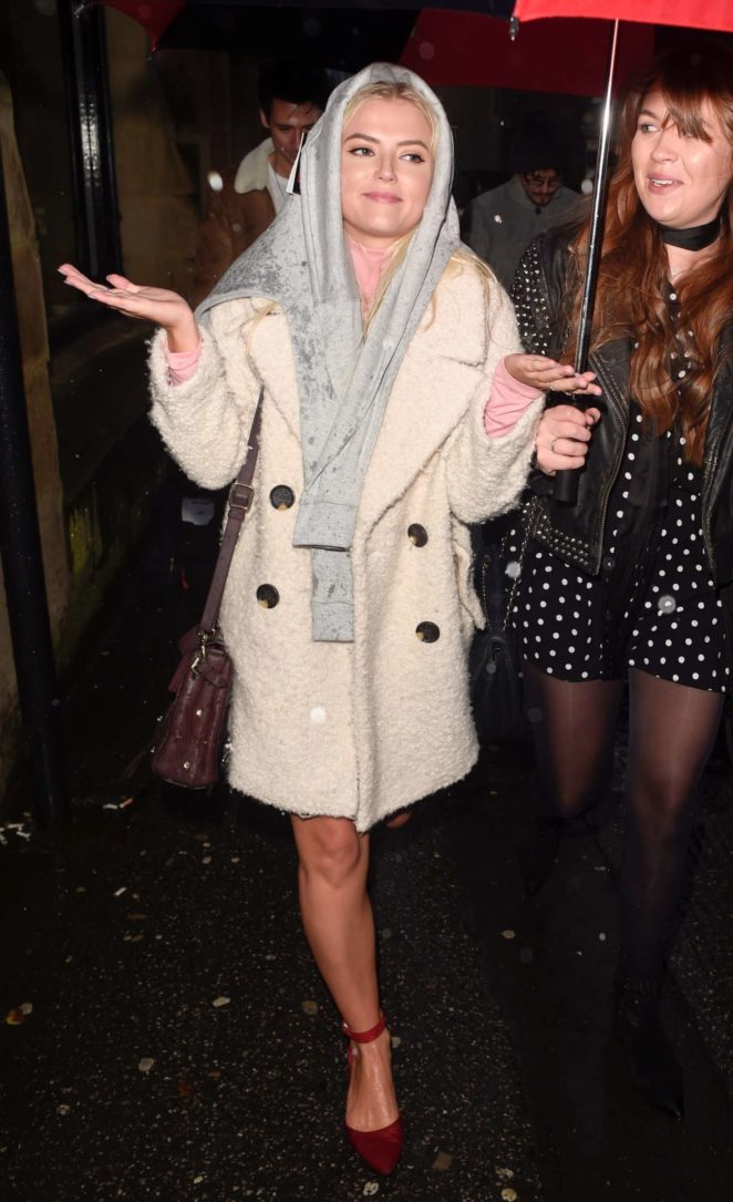 Lucy Fallon - Leaves The Smokehouse Cellar Bar in Manchester