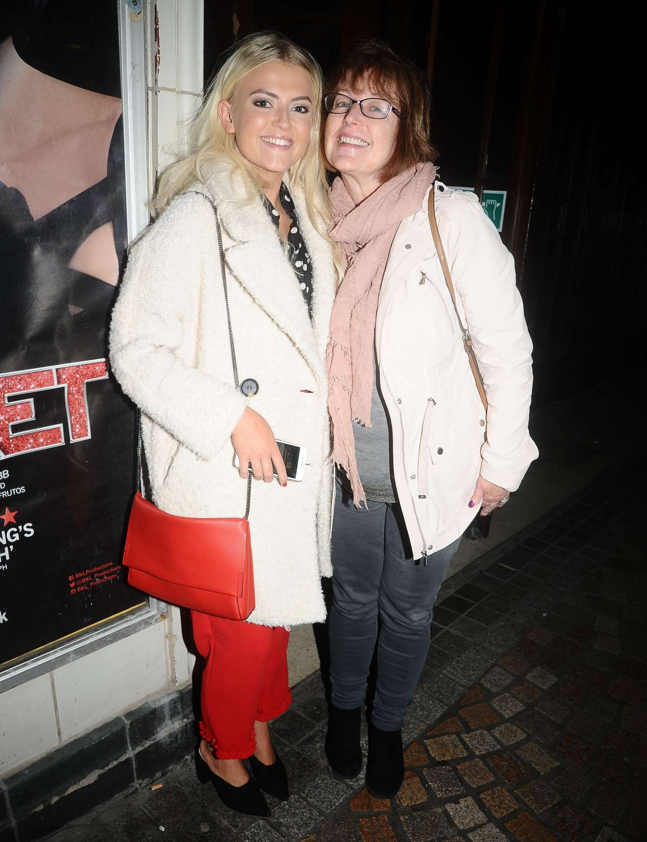 lucy fallon seen leaving the cabaret musical at the blackpool