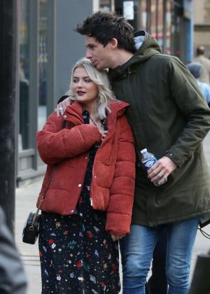 Lucy Fallon with boyfriend out in Manchester