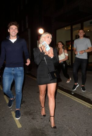 Lucy Fallon - With Ryan Ledson seen Leaving MKNY HSE Restaurant in London