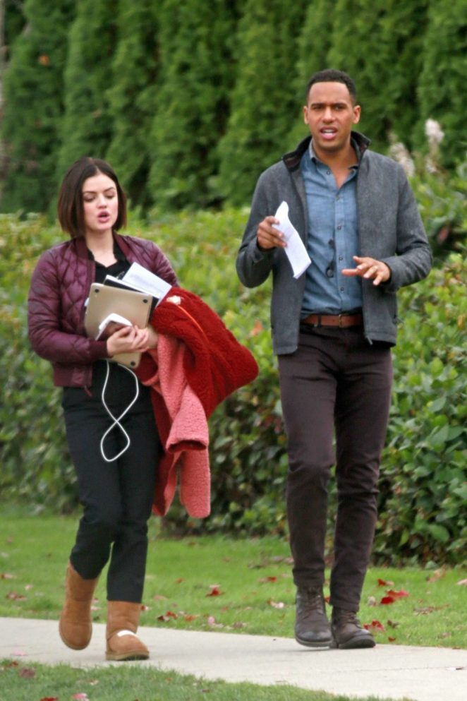Lucy Hale and Elliot Knight on their way to work in Burnaby