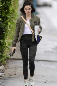 Lucy Hale - Army style - going to a gym in Los Angeles
