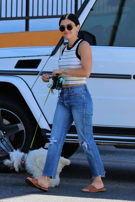 Lucy Hale - Arrives at Sam's Green Paw with Elvis in LA