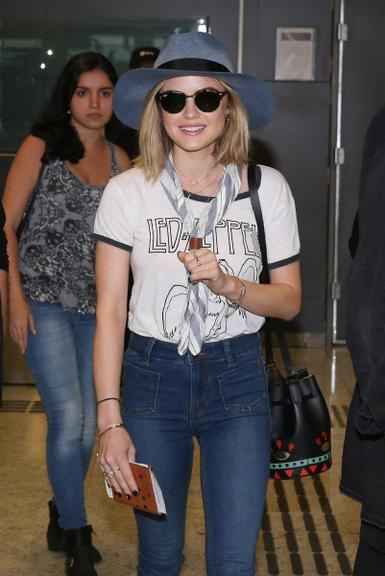 Lucy Hale - Arriving at the Airport in Sao Paulo