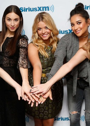 Lucy Hale, Ashley Benson, Shay Mitchell, Troian Bellisario and Sasha Pieterse at Sirius XM Studios in NY