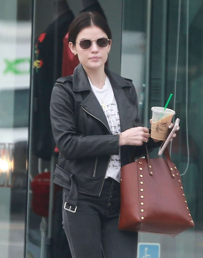 Lucy Hale at a nail salon in West Hollywood