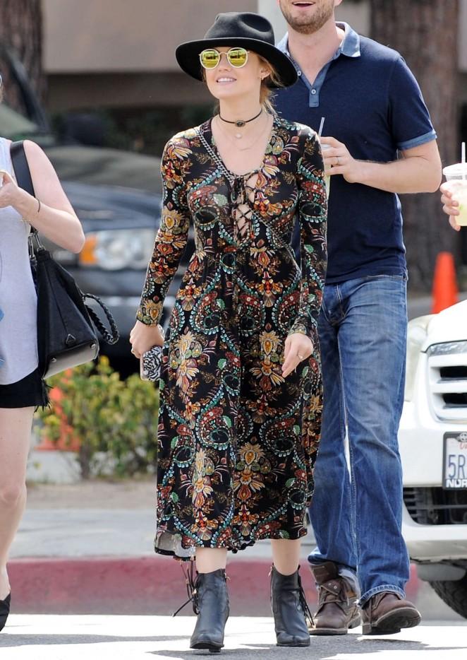 Lucy Hale in Long Dress at Flee Market in Sherman Oaks