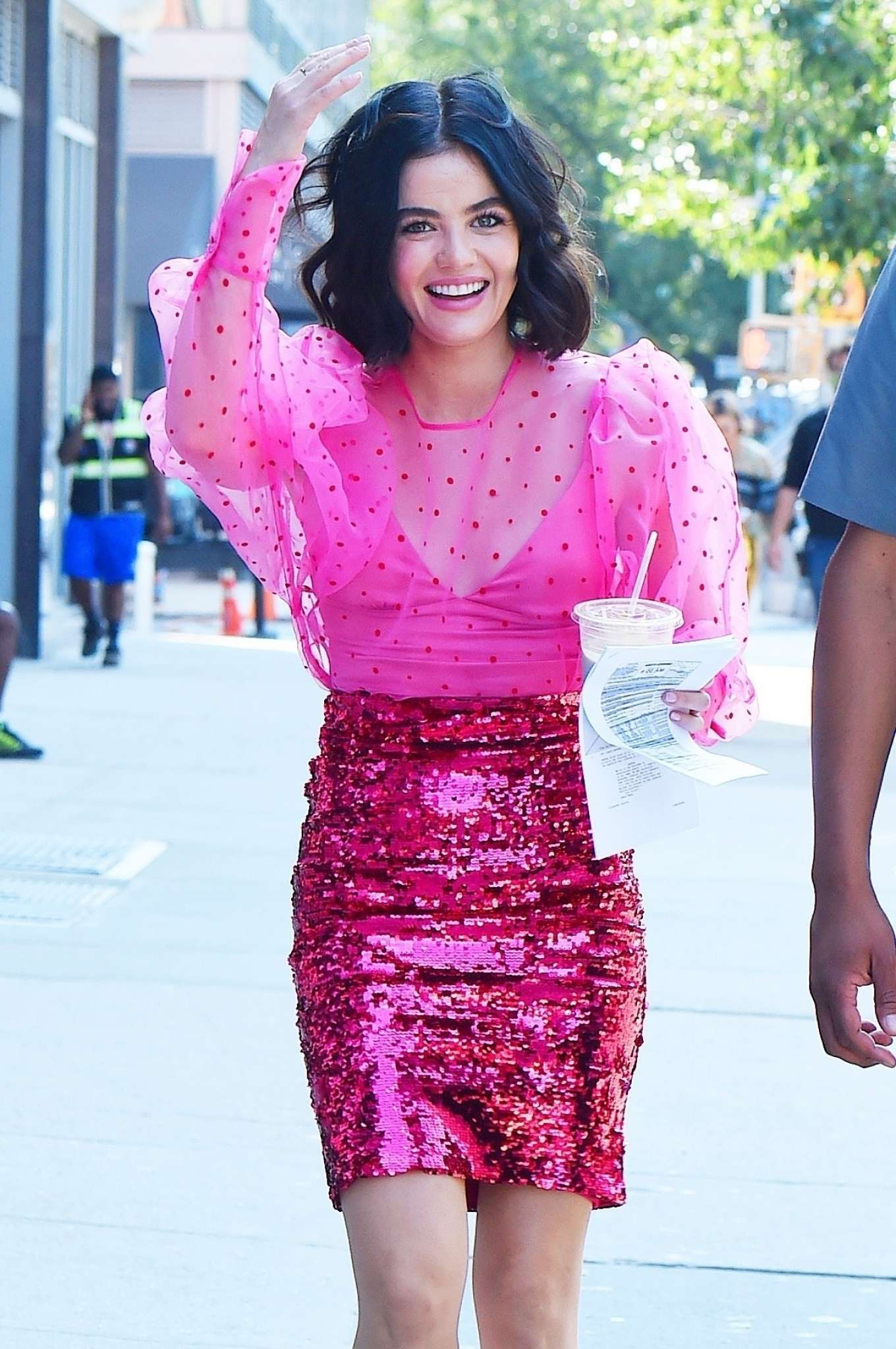 Lucy Hale at the Bowery Electric while filming her project in NY