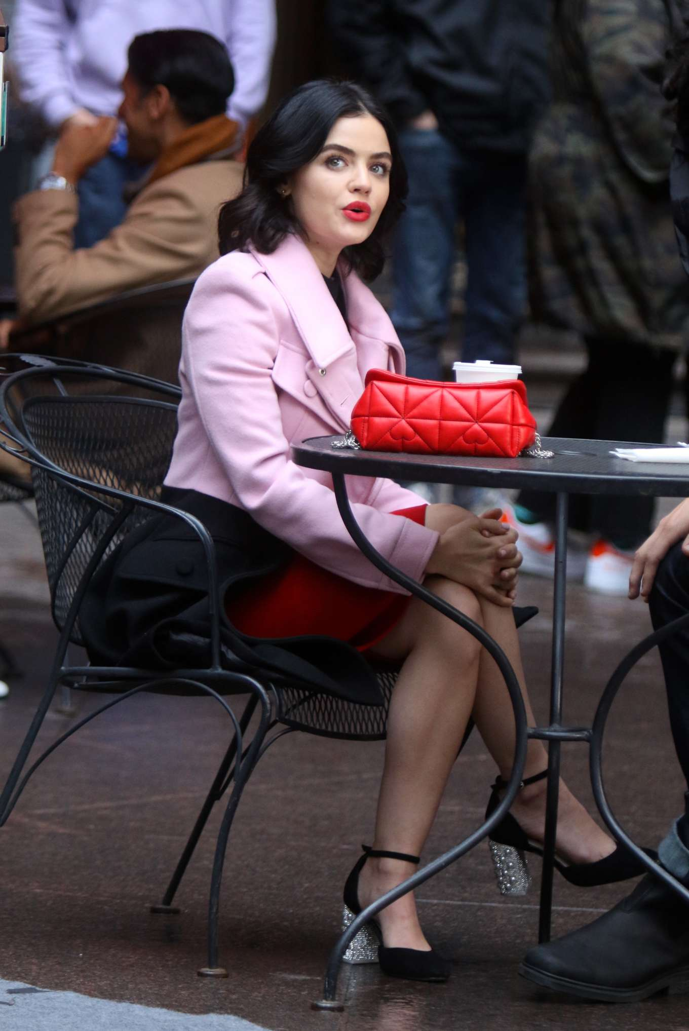 Lucy Hale - Filming a lunch scene at the 'Katy Keene' set in Manhattan