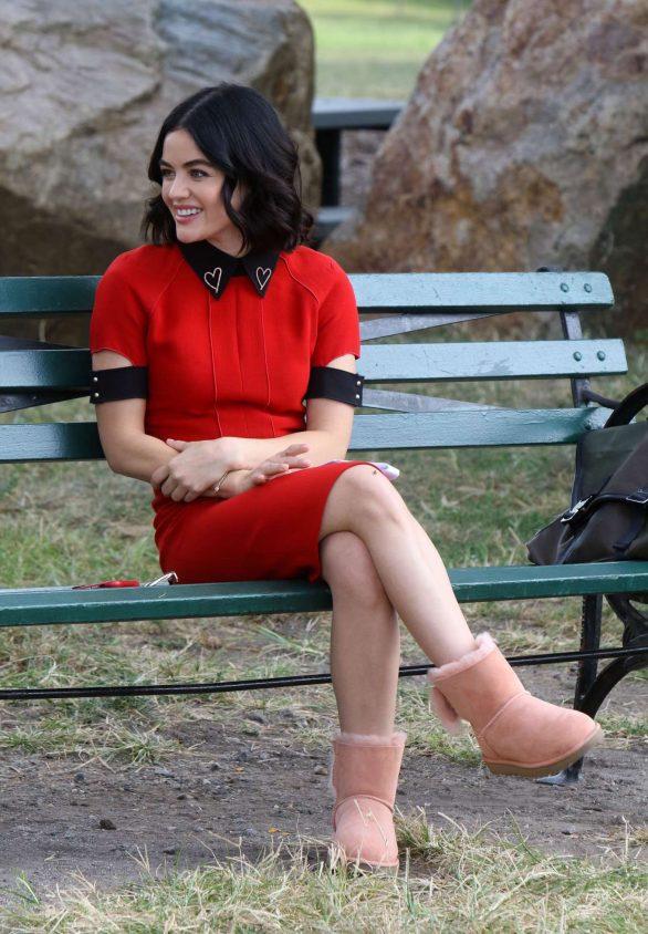Lucy Hale - Filming 'Katy Keene' set in Manhattan