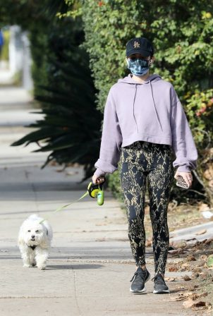 Lucy Hale - Goes for a hike with her dog in Los Angeles