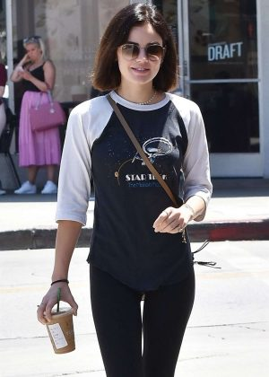 Lucy Hale - Grabbing ice coffees in Studio City
