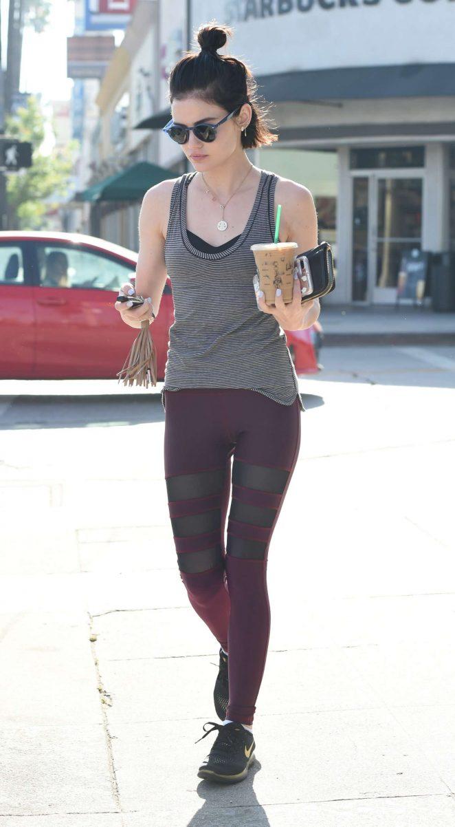 Lucy Hale – Grabs a coffee in her workout gear in LA
