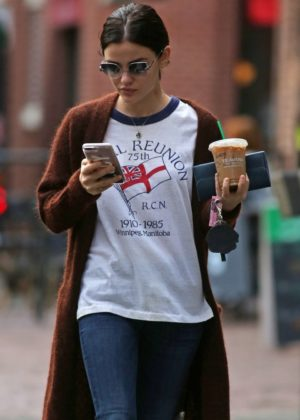 Lucy Hale - Grabs iced coffee in Vancouver