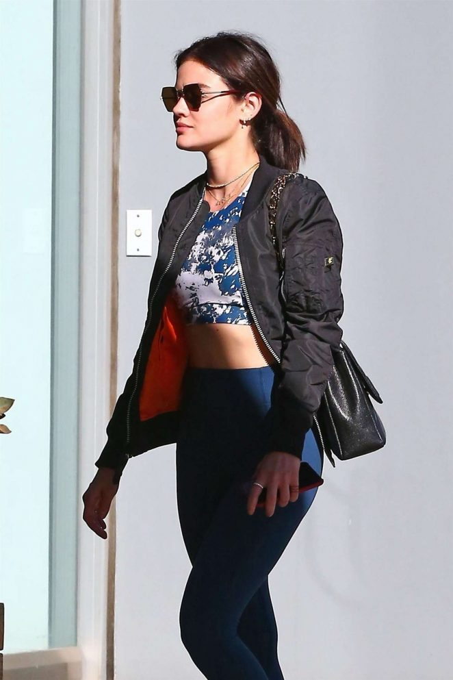 Lucy Hale – Heading at a SoulCycle in Los Angeles