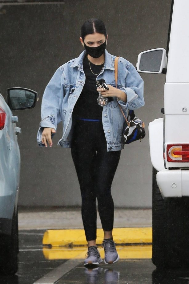 Lucy Hale - Heading to an appointment on a rainy day in Los Angeles