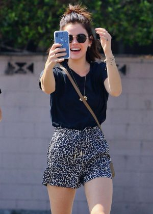 Lucy Hale - Heads to Starbucks in Studio City