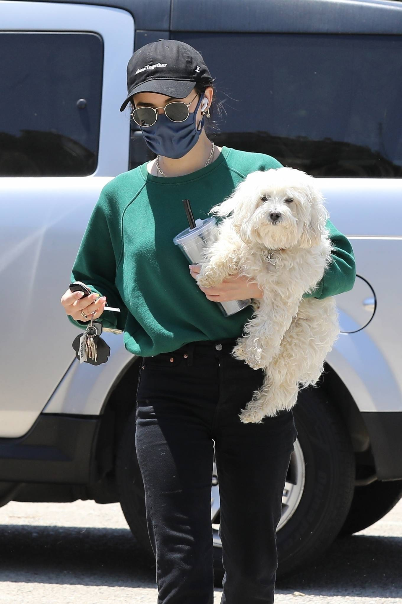 Lucy Hale - Heads to the dog park with her dog Elvis in Studio City