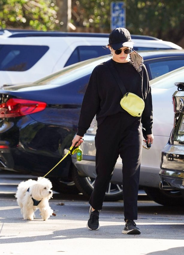 Lucy Hale - Hike with her dog Elvis in Studio City