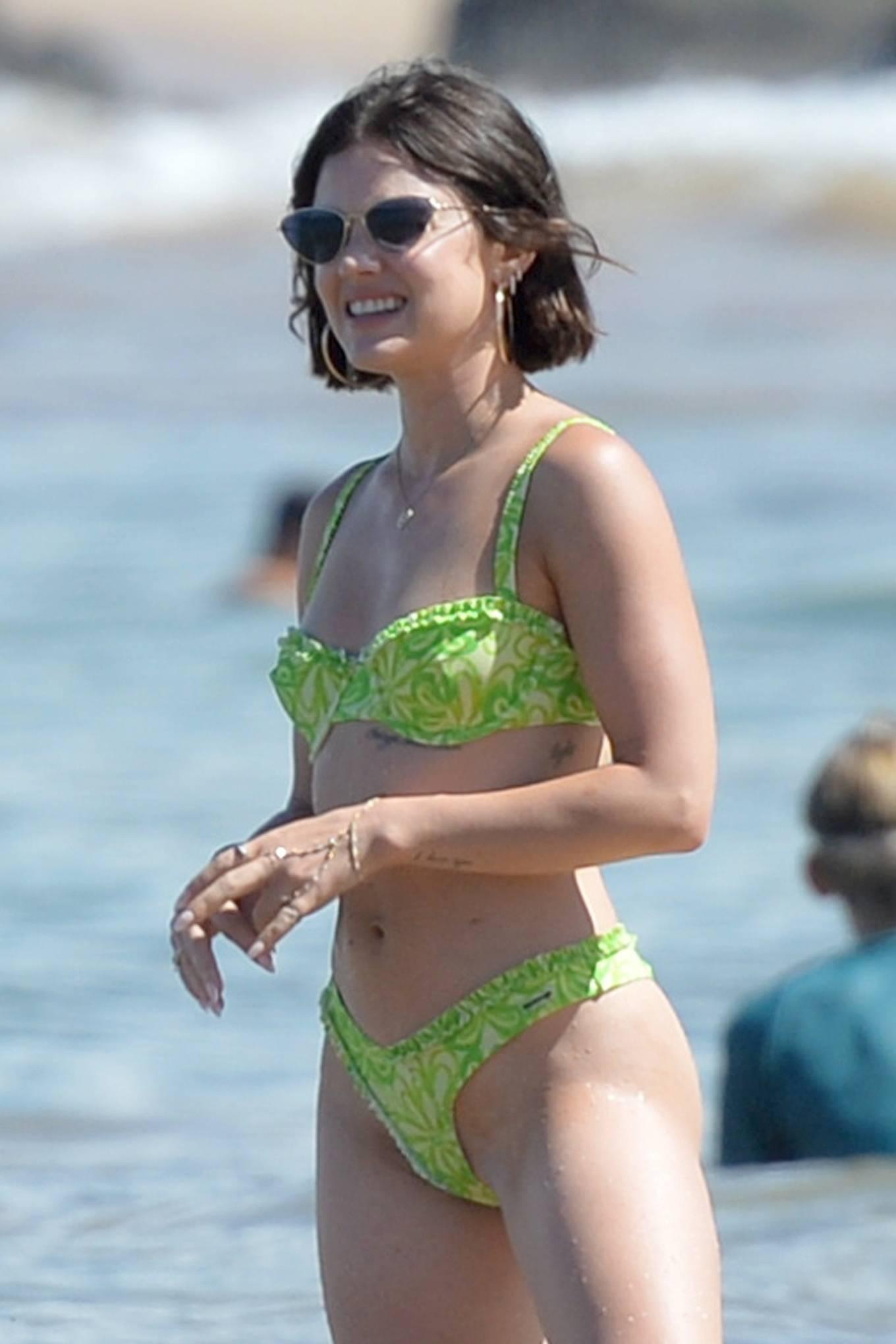 Lucy Hale - In a green bikini at Beach in Hawaii