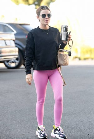 Lucy Hale - In a pink leggings arrives at a pilates class in Los Angeles