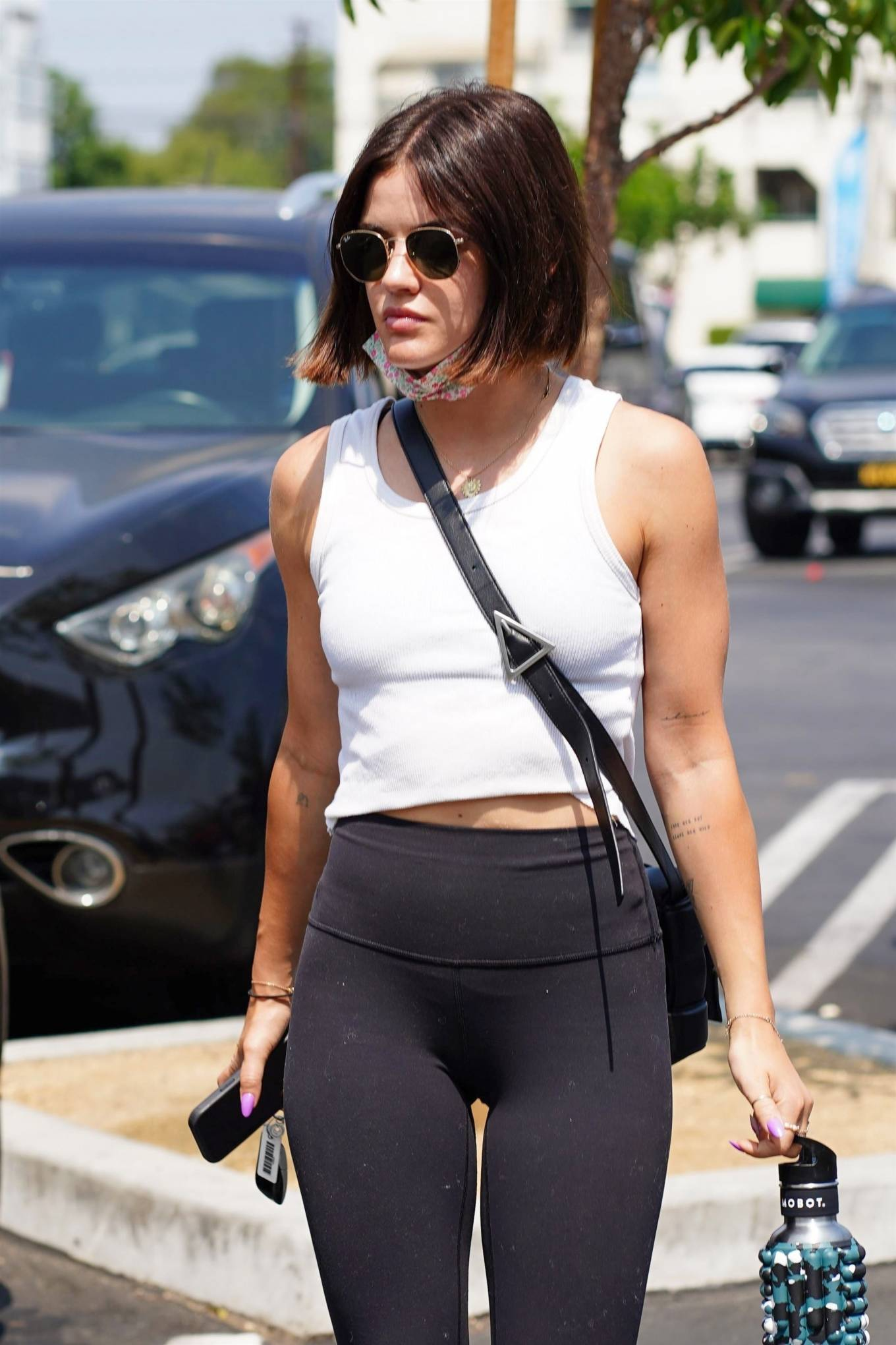 Lucy Hale 2021 : Lucy Hale – In black leggings arrives at Pilates class in Burbank-02