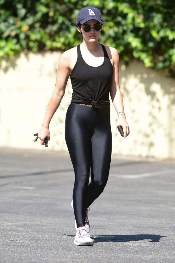 Lucy Hale in Black Leggings - Out in Studio City